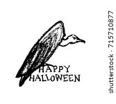 vector halloween greeting card. ... | Shutterstock .eps vector #715710877