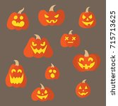 pumpkins with emotions | Shutterstock . vector #715713625