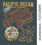 pacific ocean surfing wave... | Shutterstock .eps vector #715714045