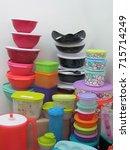 bright empty polyethylene... | Shutterstock . vector #715714249