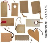 collection of cardboard corrugated paper tags or labels - stock photo