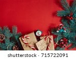 christmas composition of pine... | Shutterstock . vector #715722091