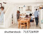 interior of busy family home... | Shutterstock . vector #715726909