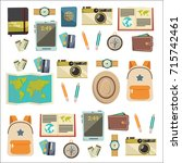 flat vector web banners set on... | Shutterstock .eps vector #715742461