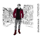 handsome guy in stylish clothes.... | Shutterstock .eps vector #715742515