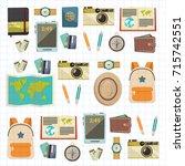 flat vector web banners set on... | Shutterstock .eps vector #715742551