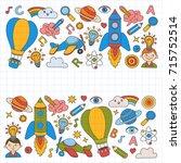 vector set of doodle icons... | Shutterstock .eps vector #715752514