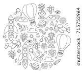 vector set of doodle icons... | Shutterstock .eps vector #715752964