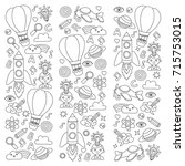vector set of doodle icons... | Shutterstock .eps vector #715753015
