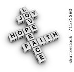 Joy, Love, Hope, Peace and Faith (crossword puzzle reminder of the important things in Life) - stock photo