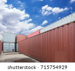stack of cargo containers at... | Shutterstock . vector #715754929