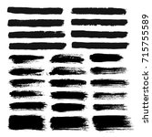 brush strokes set. painted text ... | Shutterstock .eps vector #715755589
