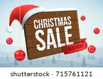 christmas wood banner with... | Shutterstock .eps vector #715761121