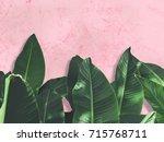close up green banana leaves... | Shutterstock . vector #715768711