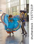 Small photo of Mexican Independence Day, Milan, Italy, 14 september 2017, piazza Alvar Aalto, mexican dancers.