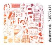 hand drawn fall fashion... | Shutterstock .eps vector #715771684