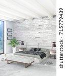white bedroom minimal style...   Shutterstock . vector #715779439