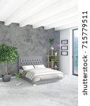 white bedroom minimal style...   Shutterstock . vector #715779511
