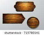wooden signs  vector icon set | Shutterstock .eps vector #715780141