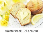 A Plate With Fresh Baked Lemon...