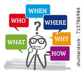questions who why how what... | Shutterstock .eps vector #715786984