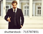 man offer cooperation or... | Shutterstock . vector #715787851