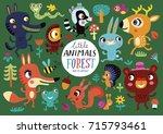 cute forest animals on a green... | Shutterstock .eps vector #715793461
