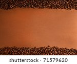 coffee beans stripes on brown background - stock photo