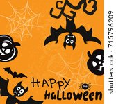 template card for halloween... | Shutterstock .eps vector #715796209