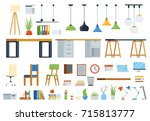 office furniture  accessories... | Shutterstock .eps vector #715813777
