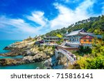 Haedong Yonggungsa Temple and Haeundae Sea in Busan, Buddhist temple in Busan, South Korea.