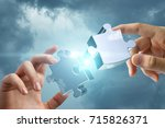 hands connects two of the... | Shutterstock . vector #715826371
