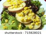 sliced apples with vegetable... | Shutterstock . vector #715828021