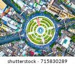 aerial view road area huge...   Shutterstock . vector #715830289