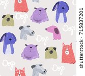 cute various dogs. colored... | Shutterstock .eps vector #715837201