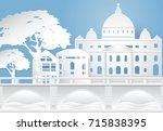 vatican city and bridge  paper...   Shutterstock .eps vector #715838395