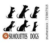 Stock photo silhouettes of dogs set 715847515
