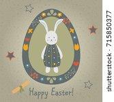 festive easter egg with cute... | Shutterstock .eps vector #715850377