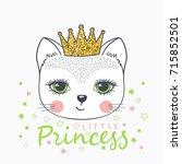 cute cat girl. little princess | Shutterstock .eps vector #715852501