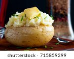 jacket potato served with...   Shutterstock . vector #715859299