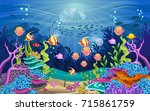 vector illustration with coral... | Shutterstock .eps vector #715861759