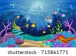 vector illustration with coral... | Shutterstock .eps vector #715861771