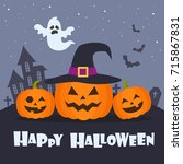 grinning pumpkins and ghost on... | Shutterstock .eps vector #715867831