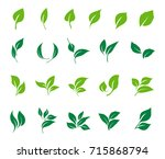 leaves icon vector set isolated ... | Shutterstock .eps vector #715868794