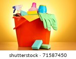 cleaning supplies on red...   Shutterstock . vector #71587450