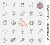 thin line vegetable vector icon ... | Shutterstock .eps vector #715881901