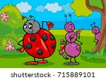 cartoon illustration of ant and ... | Shutterstock . vector #715889101