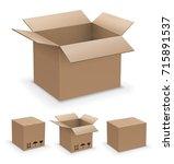 cardboard boxes set.  | Shutterstock .eps vector #715891537
