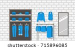 jeans clothes shop indoor... | Shutterstock .eps vector #715896085