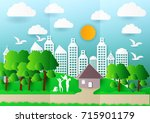 paper art of family and pets on ... | Shutterstock .eps vector #715901179